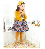 Free shipping Retail 2015 new style girls dress children long-sleeved Fake piece dress girl floral dress H-Dec21