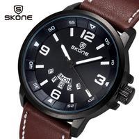 SKone Luxury Brand Luminous Pointer Quartz Watch Men Wristwatches Leather Strap With Date Calender Casual Men's Watches