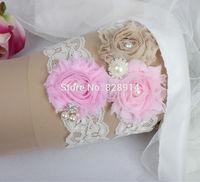 New Design Lace Trim Pink and Brown Color Shabby Flower Wedding Garter for Bridal Garter made of Purple Shabby Flower Handmade