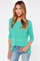 2014 European brand women hot blouse Elegant round neck long-sleeved T-shirt women Loose zipper T-shirt for Women