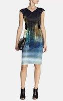 European brand fashion 2015 women's  elegant OL stripe print slim one-piece dress XXL