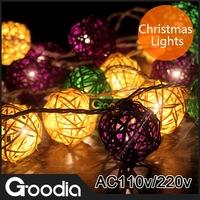 Christmas Lights LED Strip Light Rattan Decoration Balls Wedding Garden Lamps 20Balls Strip Light