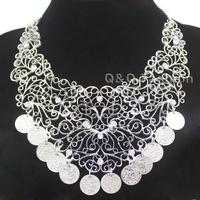 Vintage Flower Filigree Coins Drape Crystal Indian Banjara Kuchi Gyspy Necklace Jewelry Free Shipping
