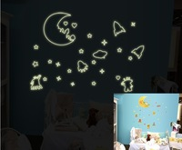 Free shipping Wall Decal Stickers Removable Wallpaper,Room Sticker House Sticker night Luminous Interstellar space Moon QT0004