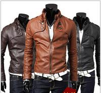 jaqueta couro motorcycle leather jacket men winter coat stand-up collar chaqueta cuero hombre brown color