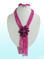 FWS339  Rose the latest design semi-precious stone necklace  bracelet set