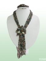 Fhgf776   Rose the latest design semi-precious stone necklace  bracelet set