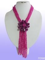 FFK991 Rose the latest design semi-precious stone necklace  bracelet set
