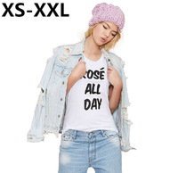 XS-XXL Spring And Summer Fashion Tops Of Women White Cotton ROSE ALL DAYS Letters Printed Tops