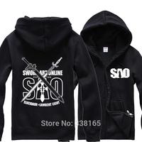 SWORD ART ONLINE Cosplay Hoodie men&women Zipper-up Coat Jacket Thick Warm Hooded Tops Costume Size M L XL XXL