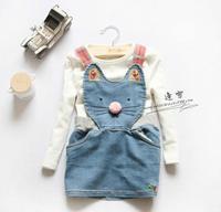 New 2014 baby girls washed denim cat dress children kids cartoon fashion dresses A139 top quality