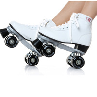 Authentic white black PU double row wheel patins roller skates shoes for men and women adults stunt scooter solomon shoes men