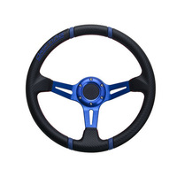 Car Steering Wheel Black Blue PVC Leather Hole-digging Breathable Q10 Slip-resistant Universal Supplies Car Accessories