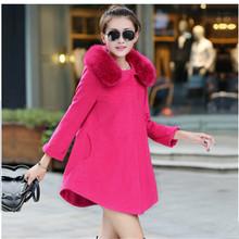 New Arrival Women Winter Fashion Full Sleeve Elegant Fur Collar Coat 2015 Ponchos Jacket Shawl Outerwear Loose Plus Size Coats(China (Mainland))