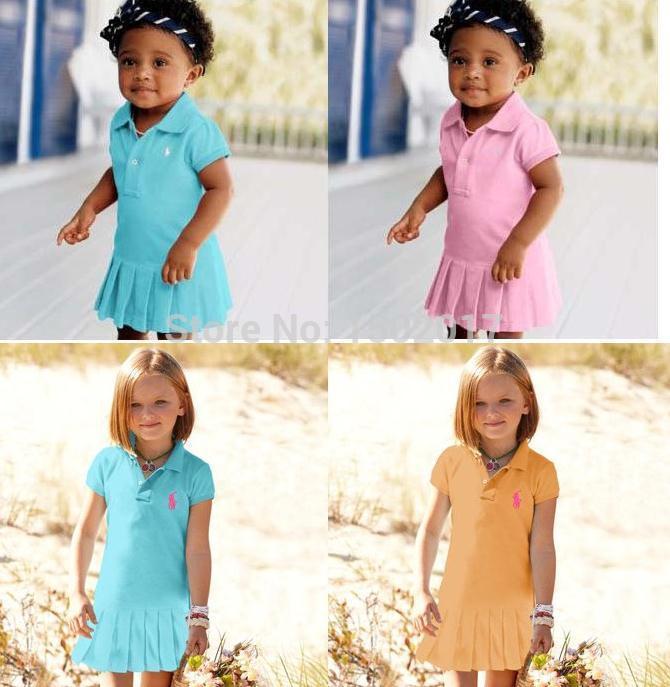 2015 New Fashion POLO Baby Girl's Clothing Dress Girls Turn-down collar Summer short-sleeve Dress casual dress Free shipping(China (Mainland))