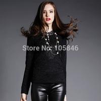 2015 New Arrival Autumn Winter European Style Fashion Women Black High V Neck Long Sleeve Lace Plus Island Velvet Basic Shirts
