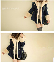 Winter new korean style women's slim double-breasted college wind Cotton-padded jacket coat