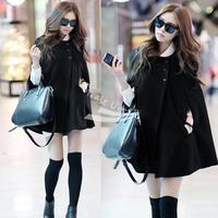Korea Women Charming Winter Casual Cloak Coat Cape Poncho woolen Coat Warm Jacket New black free shipping 8621