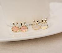 2015  New Fashion Trendy Opal Rabbit  Charm Statement Gold Stud Earrings Accessories Jewelry For Women X667