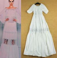 Brand women's fashion white slash neck Floor length fairy banquet maxi long dress XL