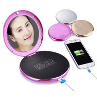 Fashion Female Lady Cosmetic Mirror 7000mAh USB External Power Bank for Smartphones Rose