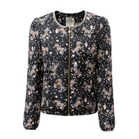2015 Women Fashion Cotton-Padded Coat Manual Beading Jacket Horse  Printed Blazer Wadded Jacket  BO005