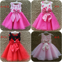 Free shipping Retail high quality princes dress lace flower bow beautiful children girl party dress 4 colors  P-711