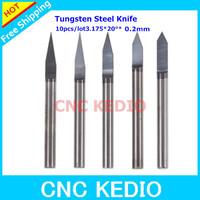 10pcs/lot 3.175mm Shank 20 Deg 0.2mm Flat Bottom Engraving Carving Tools, V Shape Carbide Bits, CNC Cutters on aluminium ,steel