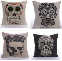 Skull Vintage Linen Cotton Throw Pillow Case Sofa Bed Home Decor Cushion Cover Square 45x 45cm