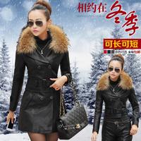 2014 genuine leather clothing female medium-long thickening design short slim motorcycle trench sheepskin jacket outerwear