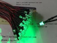 DC12V 3mm Flat top LED Green Color pre wired  indicator LED light