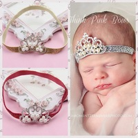 Baby Girls Sparking Headband Crystal & Pearl Tiara Hairband Princess Headwear Christening Crown Hair Accessory Photo Props