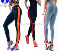 2014 New Women's Stripe Sport Patchwork Gym Yoga Pants High Waist Leggings fitness sprots pantswolesale 50pcs/lot!