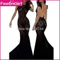 High Quality 2015 Ladies New Design Black Lace Cap Sleeve Dress Formal Floor-Length Celebrity Backless Dresses 2