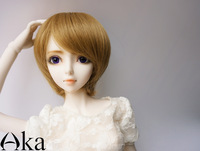 """BJD SD Doll wig  1/3 9-10"""" Brown Linen Short Straight  Wig Free Shipping"""