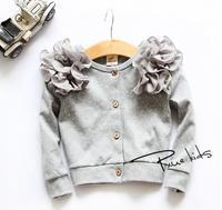 New 2014 baby girls cotton lace flower children shirt children kids coat outwear A139 top quality