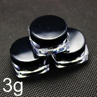 plastic cosmetic container, square cream jar, sample jar 3g ,Black screw cap
