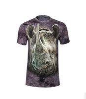 Hot 2015 Summer Basic Tee Men Women Personality Streetwear 3D Rhinoceros Tie-dye T Shirt Casual Hip Hop Short-sleeve T-Shirt