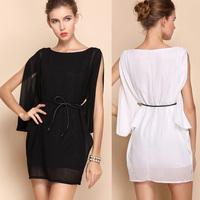 Women Elegant Casual Summer Dresses Chiffon Club White Black Vestidos  CL-318