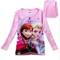 New 2015 frozen spring Tee T-shirt girls long sleeve cartoon shirts baby Elsa & Anna girl shirt cotton tops kids clothes WD2104