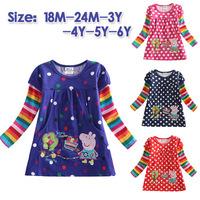 New Spring Fall Peppa Pig  Baby Girl  Dot T-shirt Tops Long Sleeve Kid's T-shirts 18M-6Y
