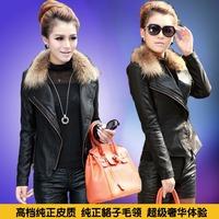 2014 genuine leather clothing female short design slim raccoon fur thickening motorcycle jacket outerwear