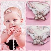 Hot Style Baby Girls Crystal & Pearl Tiara Headband Princess Baptism  Hairband Christening Crown Headwear Hair Accessory