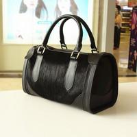 Drop shipping quality NEW  fashion star style genuine leather leopard print horsehair women's fur handbag bucket handbag