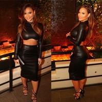 New Arrivals 2015 Sexy Black PU Nightclub Dress Party Bandage Dress 2 Two Pieces Long Sleeved Women Bodycon Celebrity Clubwear