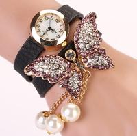 Leather Strap with beautiful Imitation diamond butterfly new electronic style women dress watches quartz wristwatch XR385