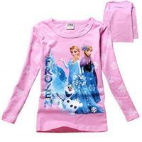 New 2015 frozen spring Tee T-shirt girls long sleeve cartoon shirts baby Elsa & Anna girl shirt cotton tops kids clothes WD2101