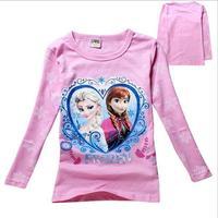 New 2015 frozen spring Tee T-shirt girls long sleeve cartoon shirts baby Elsa & Anna girl shirt cotton tops kids clothes WD2102