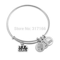Personalized silver Filled Bangle Bracelet Style Name it's a girl Bracelet Bangle