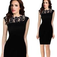 Lace Summer Dress 2015 New Fashion Sleeveless Women Casual Evening Party Dresses Mini Vestidos Vestido De Festa FreeShipping
